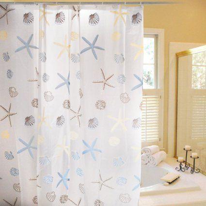 Beach shower curtain Beach themed bathroom