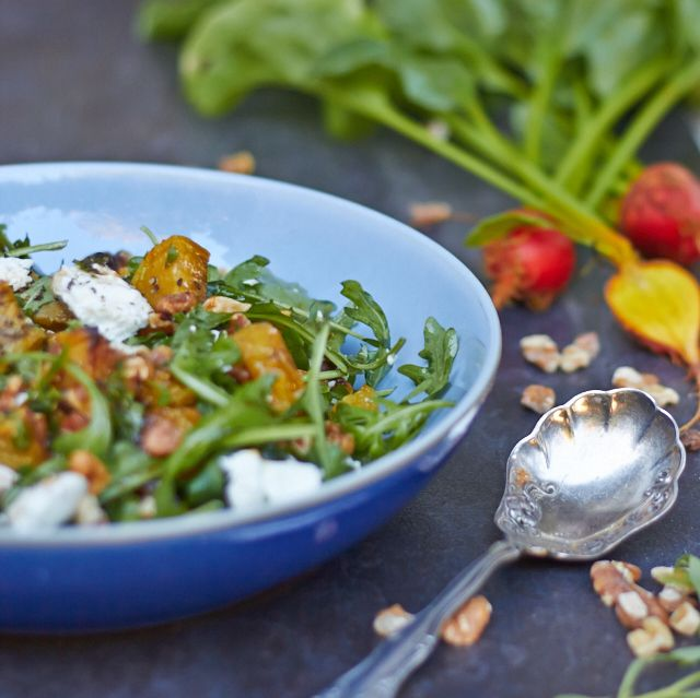 Roasted Golden Beet Salad with Baby Arugula, Chevre and Walnuts ...