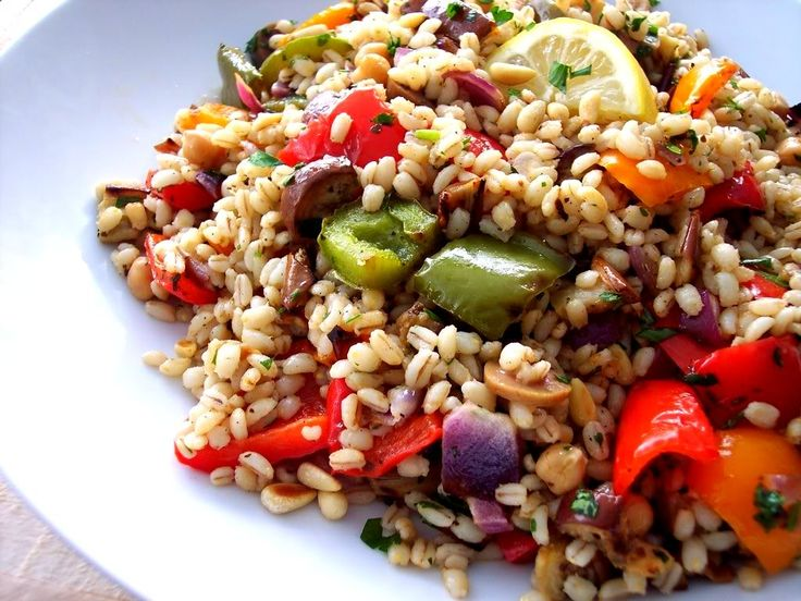 barley roasted veggie salad | Get in my belly | Pinterest