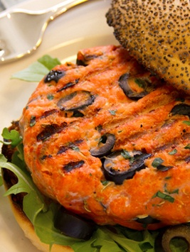 California Salmon Burgers studded with chives, lemon zest, and fennel ...