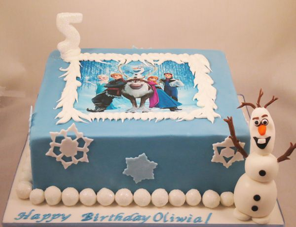 Frozen themed fondant cake. Chocolate cake with raspberry mousse on ...