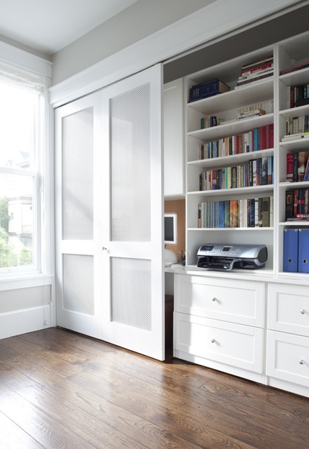 Sliding barn door to cover desk area for the home for Barn doors for home office