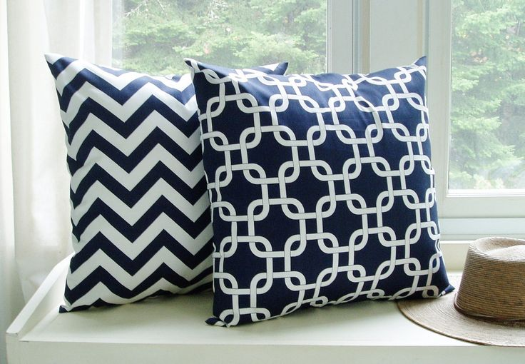 2 Pillow Covers Chevron Throw Pillows Navy Blue Decorative Couch Sofa Cushions 20x20. $36.00, via Etsy.