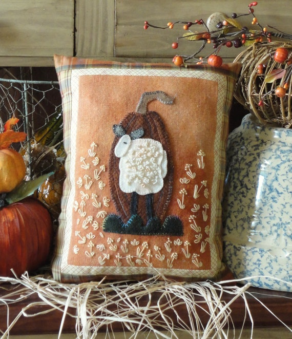 Folk Art Pumpkin I A Pattern to Embroidery an by SunflowerFields24, $8.00