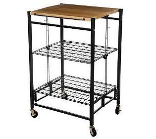 Folding island ez fold kitchen cart w metal frame amp wood top 121 80