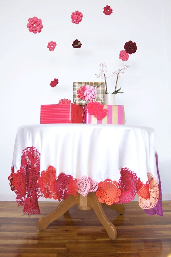 DIY doily tablecloth will bring a pop of color to any table spread and you can match it to any color scheme