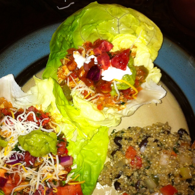 Chicken ropa vieja lettuce wraps with black bean quinoa
