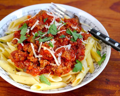 My own meat sauce for pasta, from The Perfect Pantry.