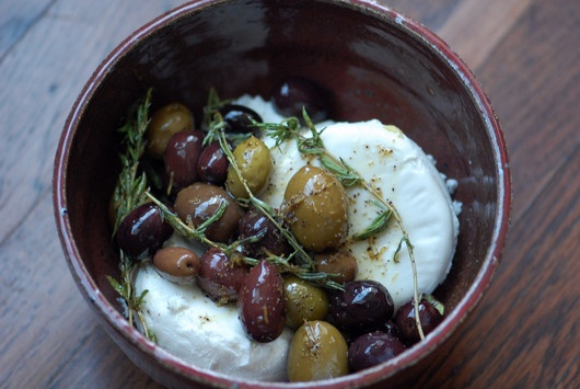 Goat Cheese with Olives, Thyme, Lemon Zest and Chili Flakes...via Jane ...