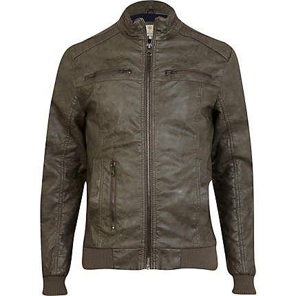 Dark green leather look biker jacket | Men's Style | Pinterest