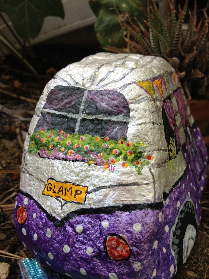 Painted rock for glamping fairy garden rock pebble - Painting rocks for garden ...
