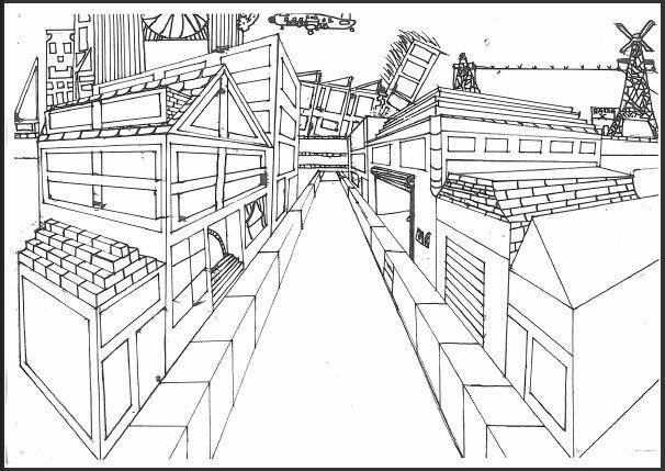 een wijk getekend in perspectief    perspectief tekenen   Pinterest