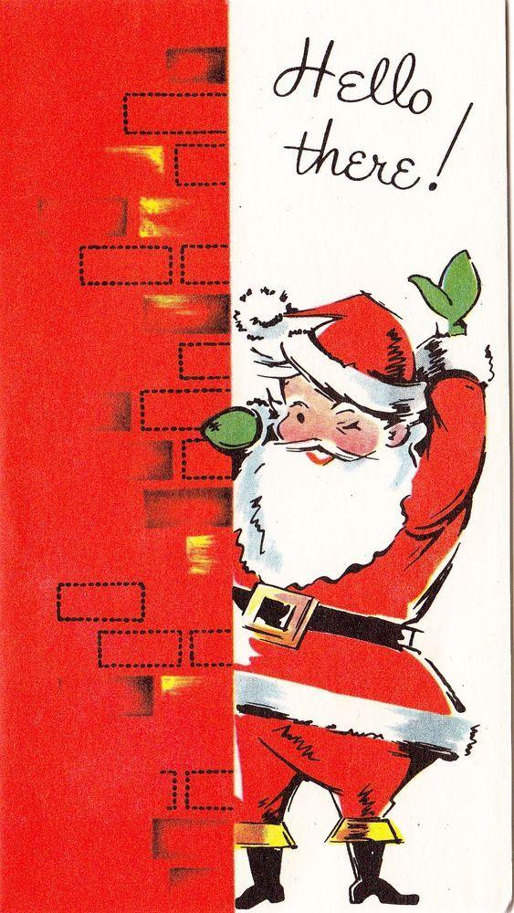 "Vintage Greeting Card Christmas Santa Claus ""Hello There!"" i302"