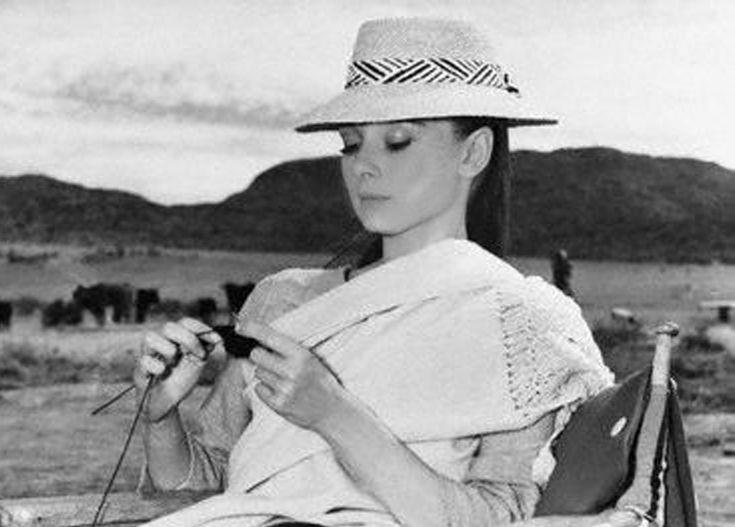 Audrey Hepburn Knitting