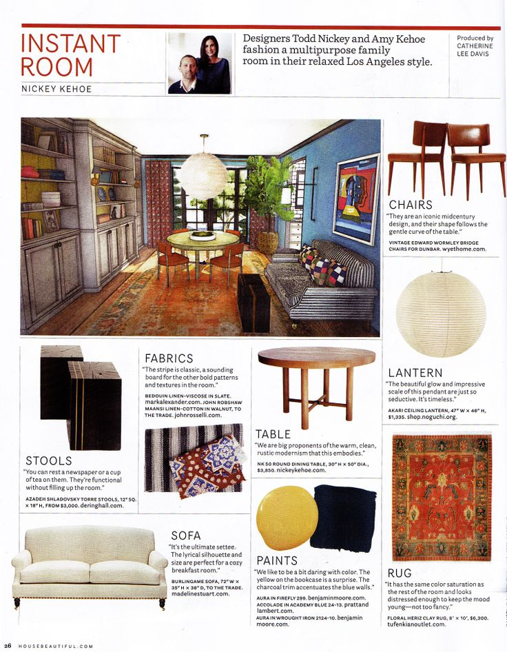 House Beautiful February 2014   featuring our Maansi Walnut Fabric