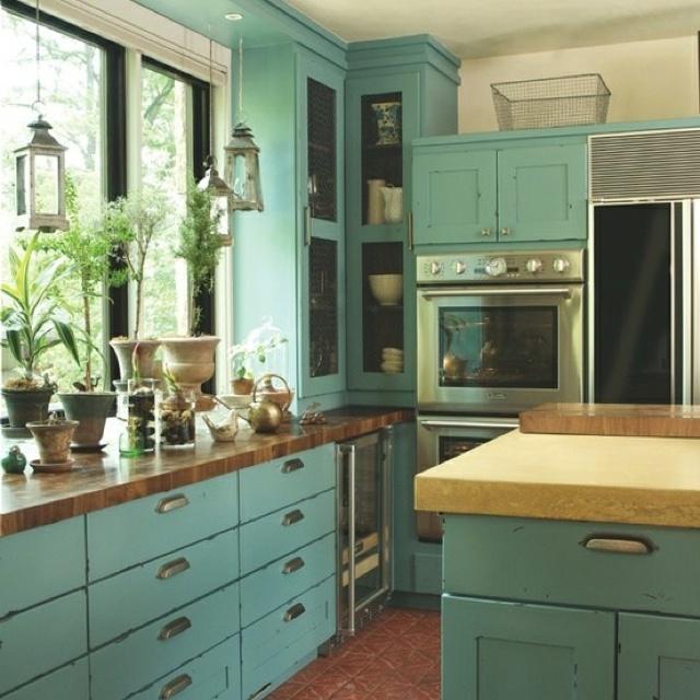 Teal kitchen  Blue+Green=Turqouise  Pinterest