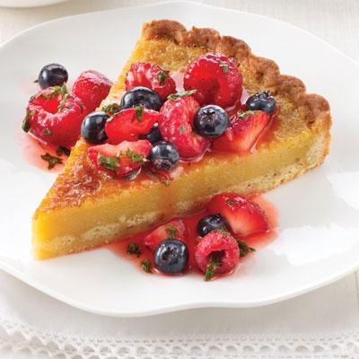 Almond Custard Tart with Berry Compote | Recipe