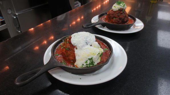 ... Marrone loves his meatballs with fresh whipped ricotta cheese on top