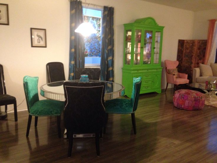 my new green dining chairs from homegoods pink themed living room and