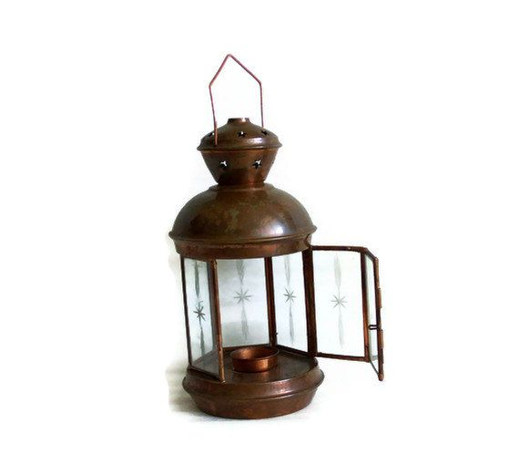 Wall Hanging Tea Light Holder : Candle LANTERN VINTAGE COPPER tealight holder - Ceiling, wall hanging?