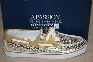 WOMENS-SPERRY-BAHAMA-GOLD-SEQUINS-BOAT-SHOES-S981
