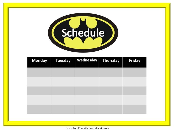 Batman free weekly calendar template | Weekly Calendar for Boys ...