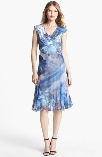 Komarov Print Chiffon Dress   Nordstrom