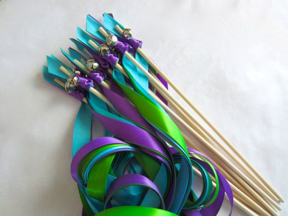 WEDDING WANDS 3 ribbons and bell Peacock Theme by MatsenDesigns