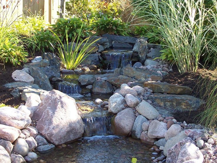 Outdoor waterfall and pond..