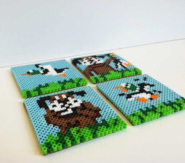 duck hunt perler bead coasters