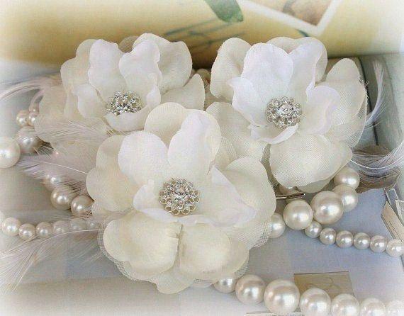 Ivory Beaded Hair Flowers Bridal Hair Flowers by FancieStrands, $42.00
