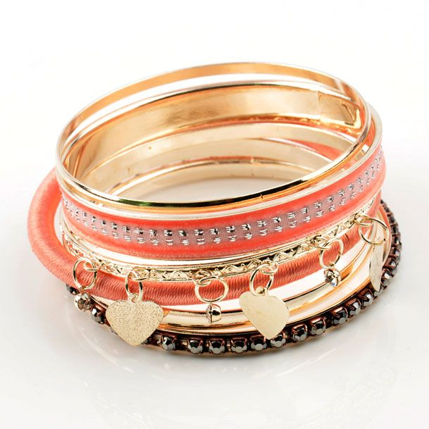 heart_charms_multi_pink_bangles | JEWELRY | Pinterest