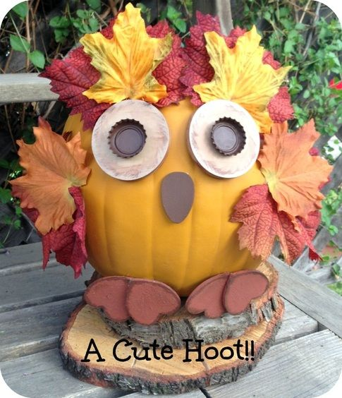 Fall pumpkin owl! Could also be a fall serving dish. An easy, cute fall craft!