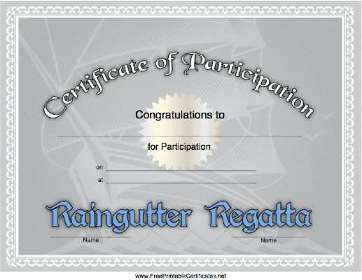 Raingutter Regatta Certificate Just B Cause