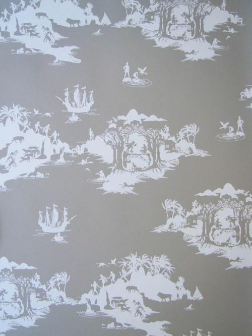 Peter pan toile de jouy wallpaper toile de jouy pinterest - Chambre toile de jouy ...