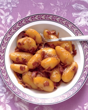 Potatoes with Bacon and Onion- Delicate fingerling potatoes are bathed ...