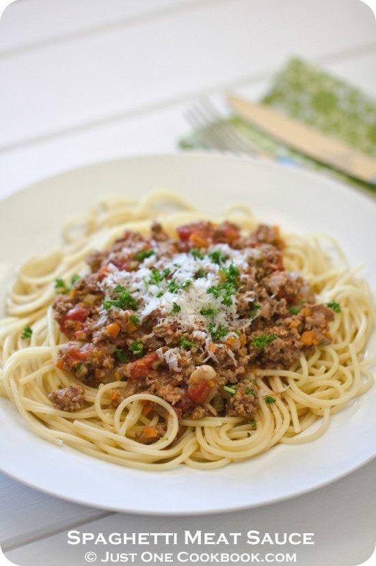 Spaghetti Meat Sauce Recipe | Easy Japanese Recipes at JustOneCookbook ...
