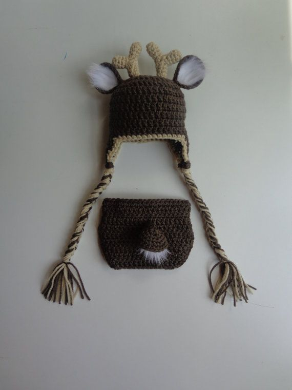 White Tail Deer Crochet Hat and Diaper Cover- Newborn