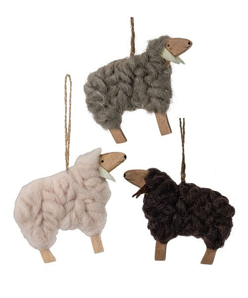 Wool sheep ornament set for Sheep christmas ornament craft