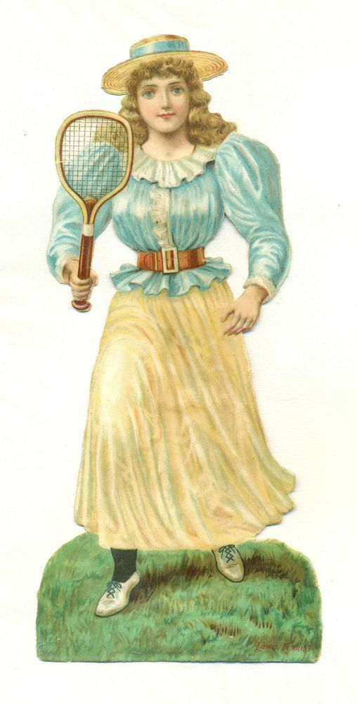large victorian  scrap lady tennis player