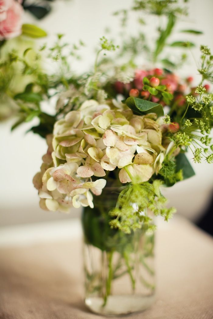 Hydrangea in mason jar centerpiece