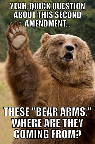 silly bear. arms are for people!