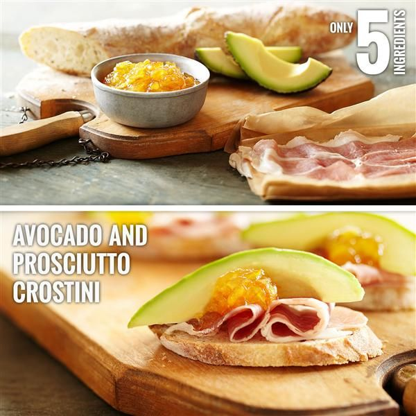 ... appetizer —Avocado and Prosciutto Crostini. #Smuckers #Pairings