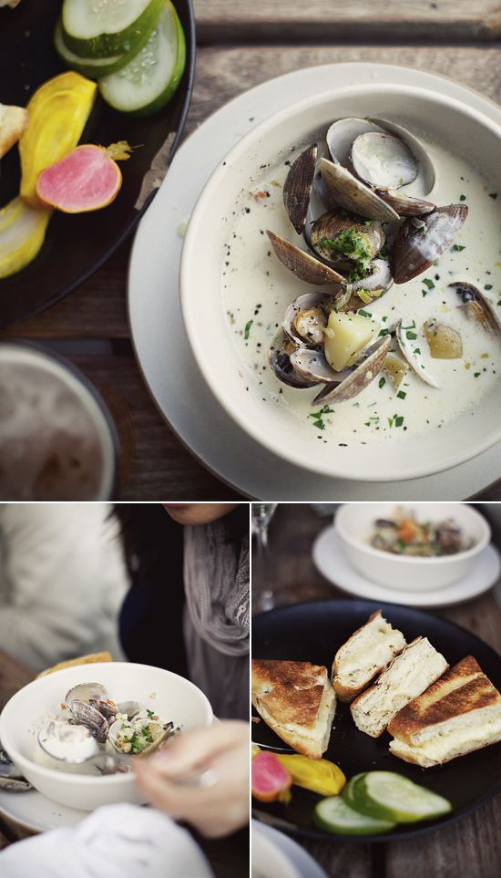 Hog Island's clam chowder and grilled cheese.