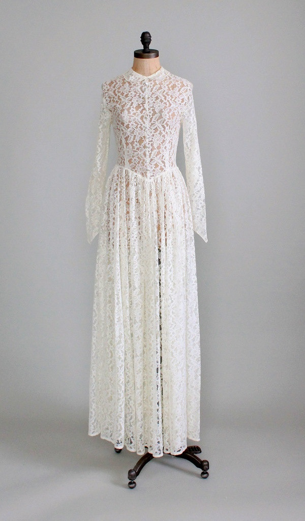 Reserved vintage 1940s wedding dress 40s ivory lace for Ivory vintage lace wedding dress