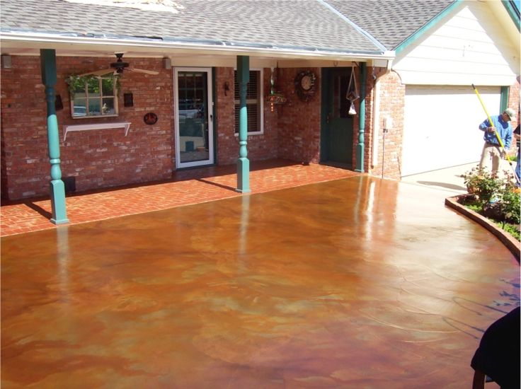 Beautiful DIY Concrete Stain PATIO DECK Pinterest
