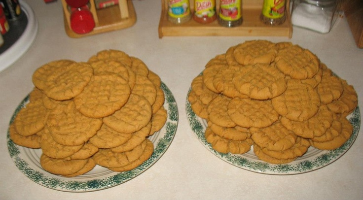 PB Cookies: 2 C Peanut butter 2 C Sugar 2 Eggs 2 tsp Baking Soda Pinch ...