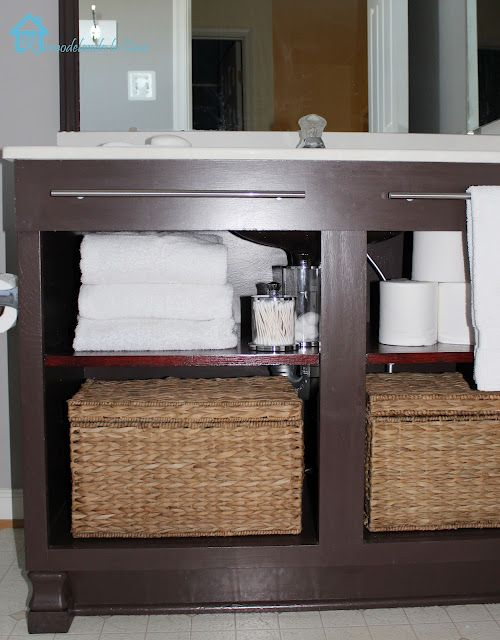 Bathroom vanity makeover remove doors drawers and add mdf towel