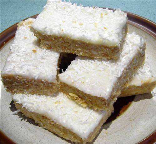 Lemon Coconut squares from Food.com: I love these no bake Lemon ...