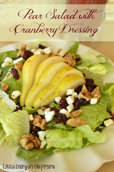 Pear Salad with Cranberry Vinaigrette Dressing